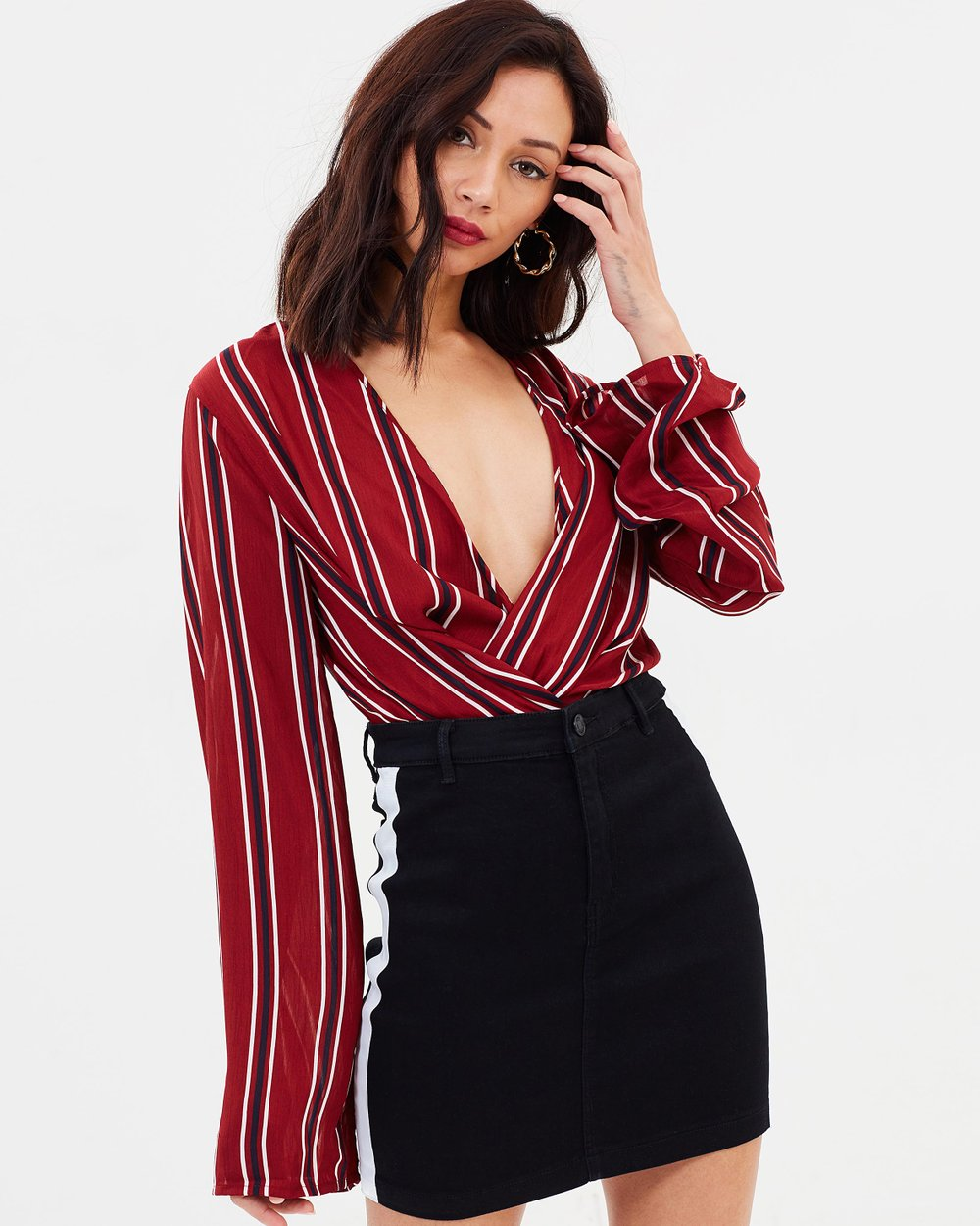 705a4218a8 Drape Plunge Bodysuit by Missguided Online