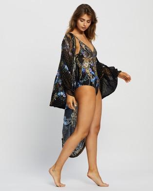 Camilla Jersey Back Panel With Silk Front Long Line Gathered Layer - Swimwear (Palace Playhouse)