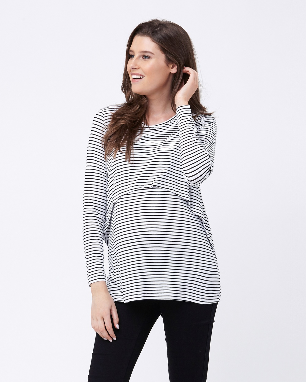 Ripe Maternity Swing Back Stripe Nursing Top Tops Black/White Swing Back Stripe Nursing Top