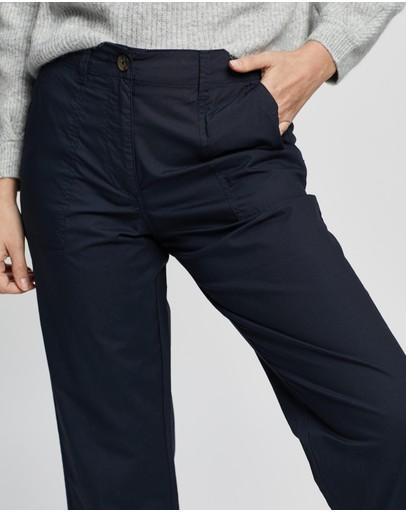 Dp Petite Poplin Crop Pants Navy