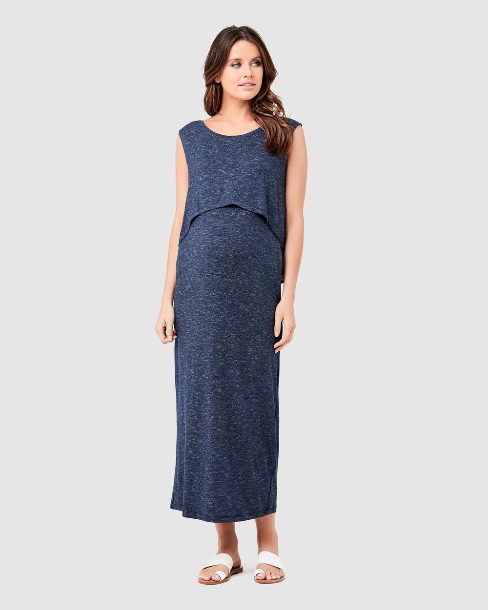 Ripe Maternity Swing Back Maxi Nursing Dress Dresses Denim Swing Back Maxi Nursing Dress