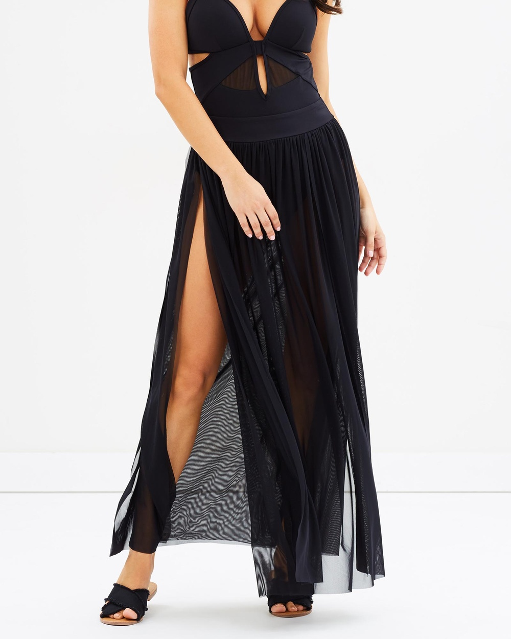 JETS Banded Maxi Skirt Swimwear Black Banded Maxi Skirt