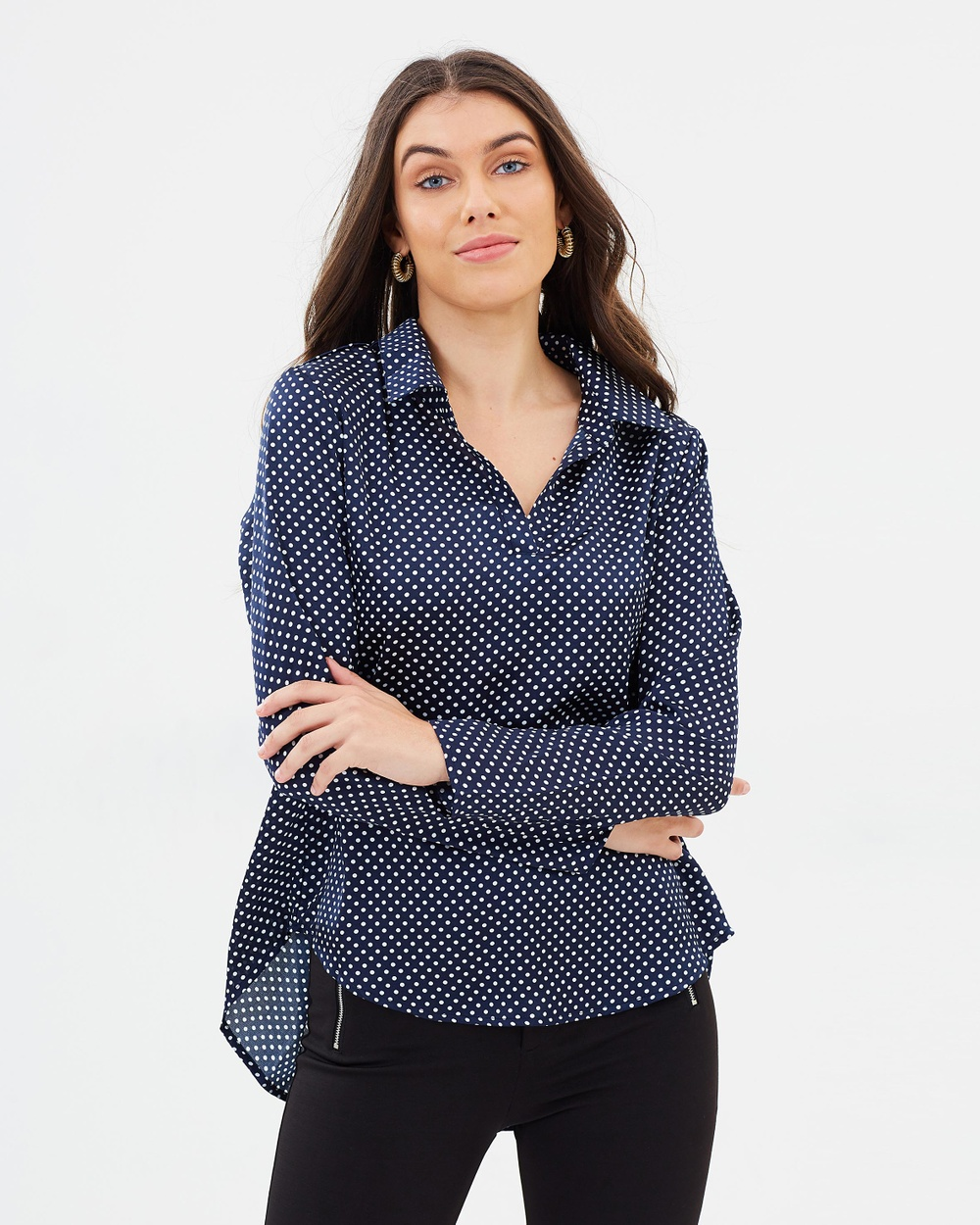 Atmos & Here ICONIC EXCLUSIVE Lindsy Collar Top Tops Navy Polka Dot ICONIC EXCLUSIVE Lindsy Collar Top