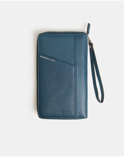 Globite Leather Portfolio Wallet With Rfid Wentworth Falls Blue