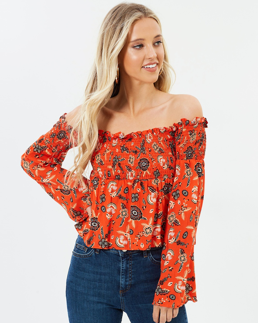 Dazie Russian Doll Top Tops Red Based Floral Russian Doll Top