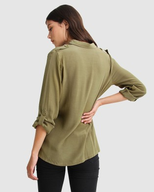 Belle & Bloom Eclipse Rolled Sleeve Blouse - Tops (Military)