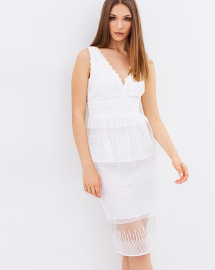 Lost Ink – Evie Multi Lace Peplum Dress – Dresses (Off White)