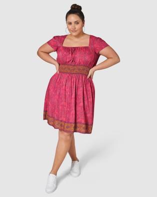 Indigo Tonic Jacinta Print Midi Dress - Printed Dresses (Pink)