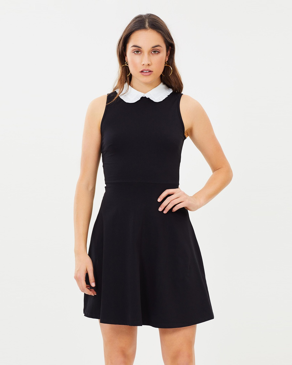 Dorothy Perkins Pointed Collar Skater Dress Dresses Black Pointed Collar Skater Dress