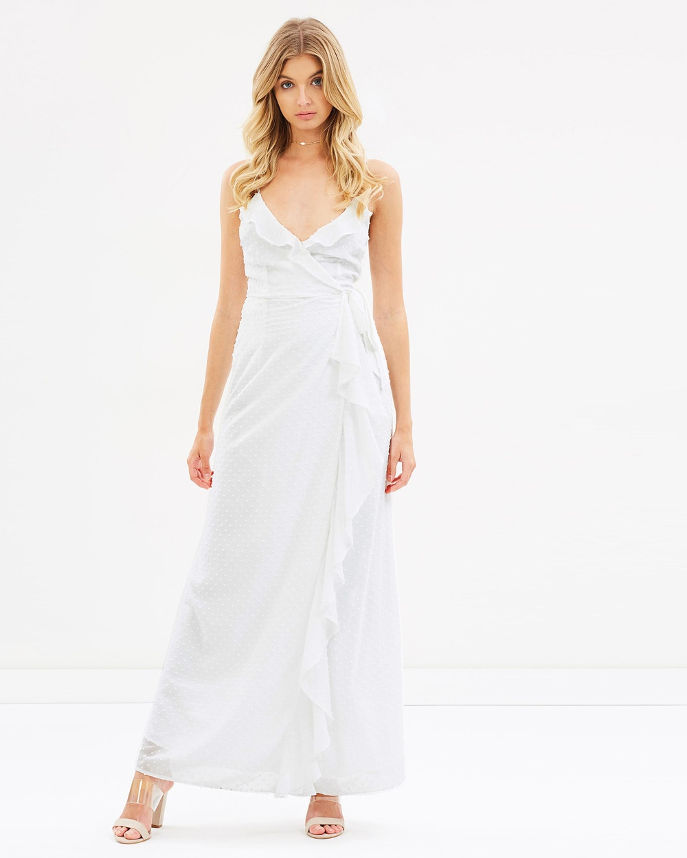 Atmos & Here ICONIC EXCLUSIVE Jules Wrap Maxi Dress Dresses White ICONIC EXCLUSIVE Jules Wrap Maxi Dress