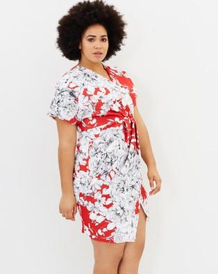 Closet London Curves – Scuba Kimono Dress Multi