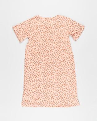 Free by Cotton On Toni T Shirt Sleeve Dress   Teens - Printed Dresses (Smoked Salmon & Daisies)