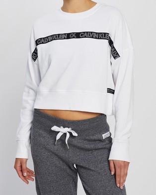 Calvin Klein Performance - LS Crew Neck Crop Pullover Necks (White)