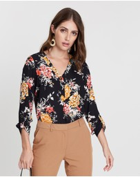 Dorothy Perkins - Collarless Roll Sleeve Top