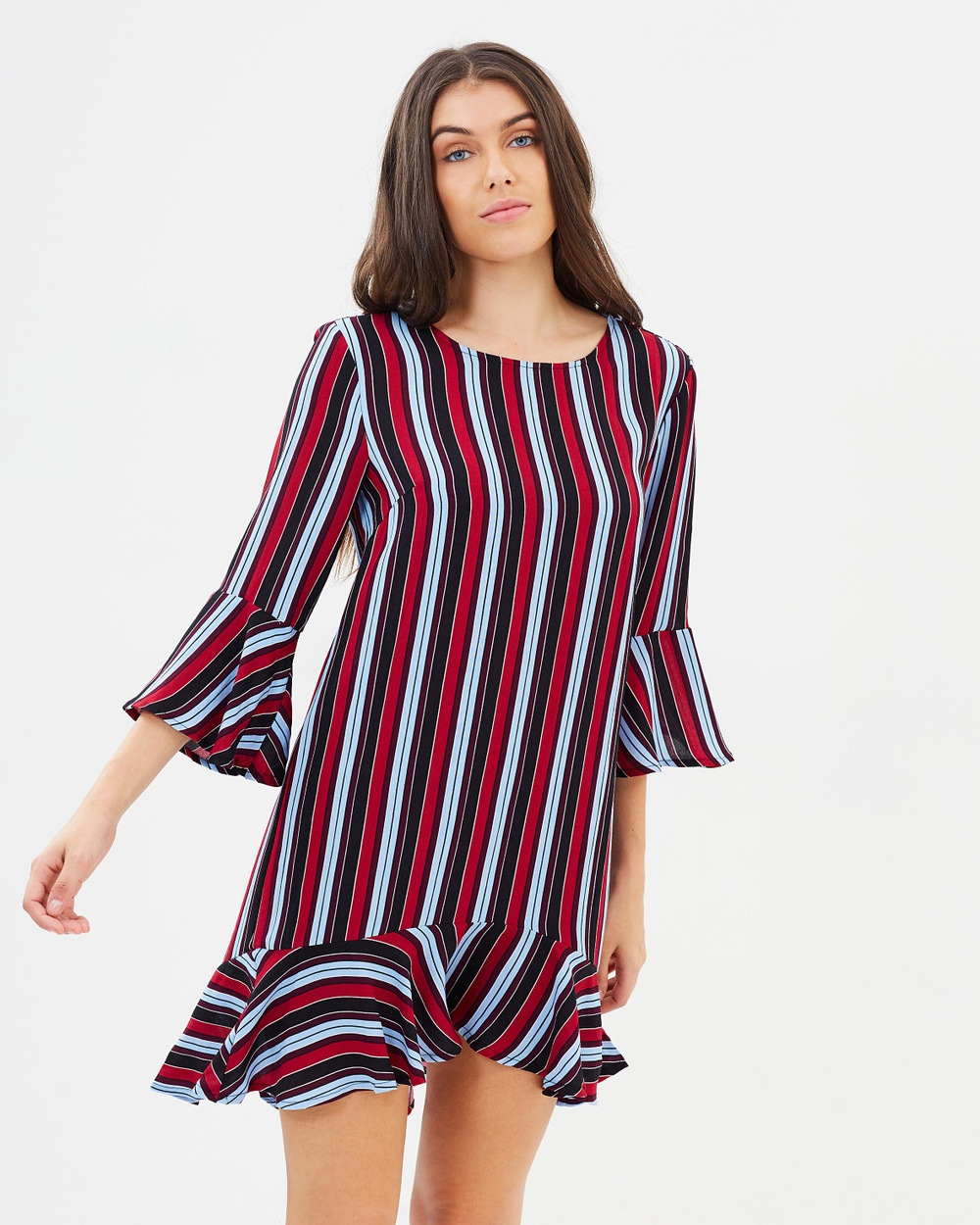 Atmos & Here ICONIC EXCLUSIVE Ella Shift Dress Printed Dresses Multicoloured Stripes ICONIC EXCLUSIVE Ella Shift Dress