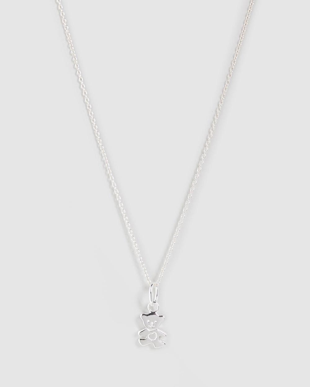 My Little Silver Teddy Bear Pendant & Necklace Kids Jewellery Sterling Silver