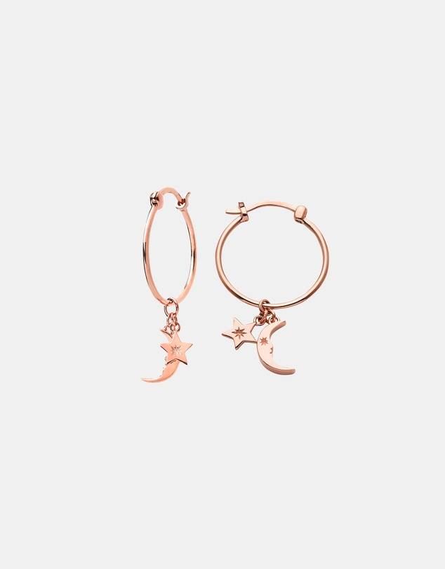 Women Moon and Star Charm Hoops