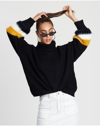 Roll-Neck Fluffy Stripe Sleeve Jumper