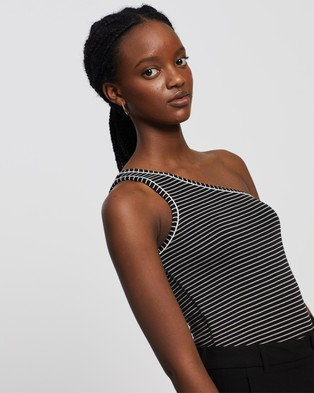 AllSaints Freyla Stripe Bodysuit - Tops (Black & Chalk)