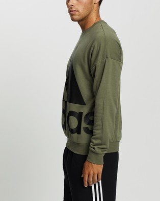 adidas Performance Favorites Big Logo Sweatshirt - Crew Necks (Legacy Green & Black)