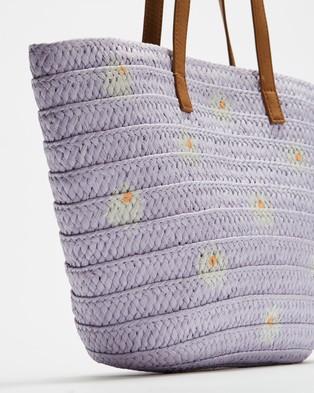 Cotton On Kids Beach Basket Bag   Kids - Handbags (Vintage Lilac Daisies)