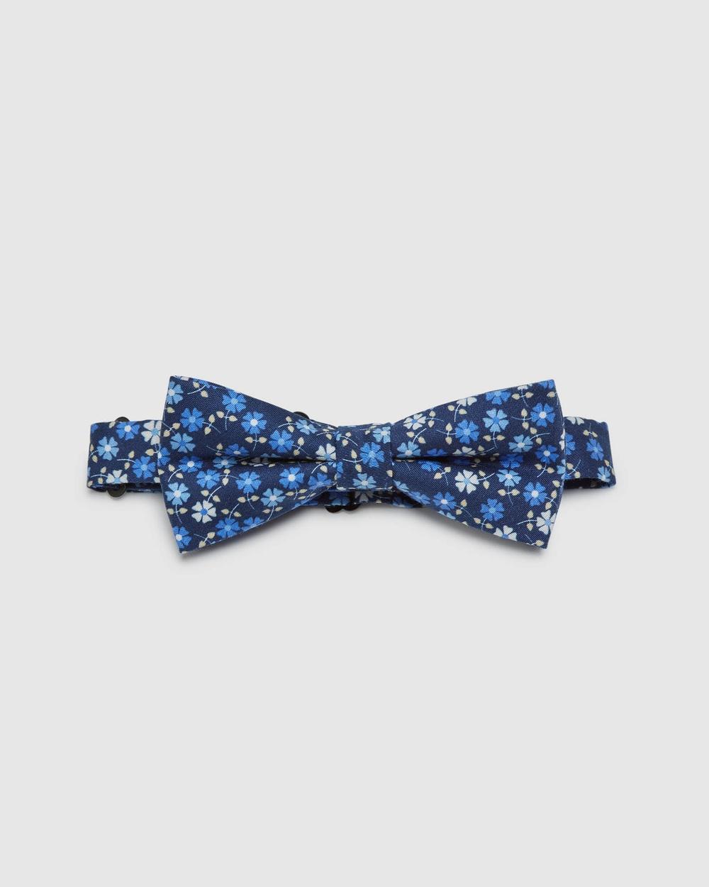 Oxford Cotton Ditzy Floral Bow Tie Ties Blue Ties Australia