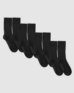 Boody Organic Bamboo Eco Wear 3 Pack Work Boot Sock - Crew Socks (Black)