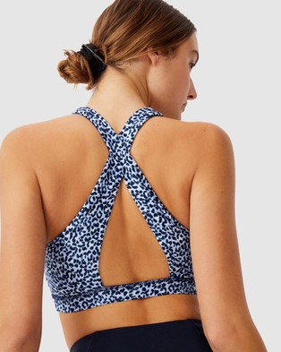 Cotton On Body Active Workout Cut Out Crop - Crop Tops (Little Leopard & Baby Blue)
