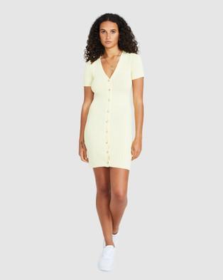 Alice In The Eve Emily Button Knit Dress - Dresses (LEMON)