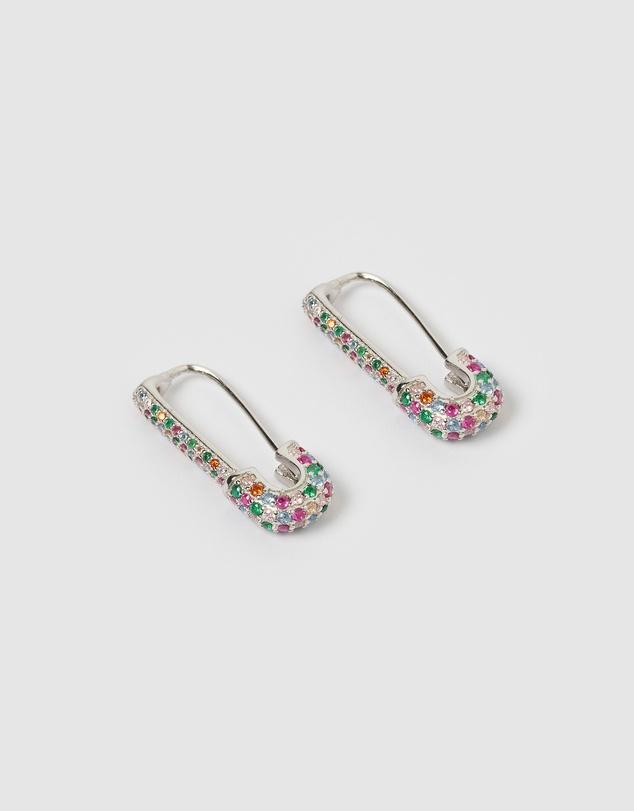 Women Apres Safety Pin Huggie Earrings