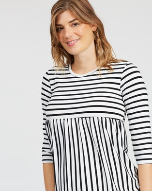 DP Maternity Stripe Smock Top - Tops (Black)