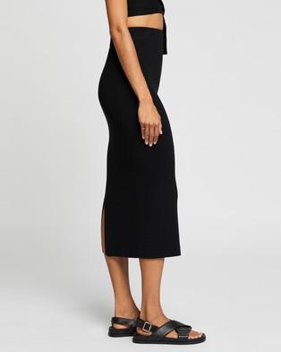 AERE Ribbed Midi Skirt - Skirts (Black)