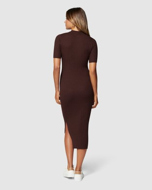 Forever New Yazmin Rib Tee Midi Knit Dress - Bodycon Dresses (Chocolate)