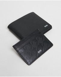 BOSS - Wallet & Card Holder Gift Set In Embossed Leather