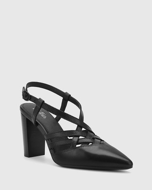 Wittner Hao Leather Pointed Toe Block Heels - Heels (Black)
