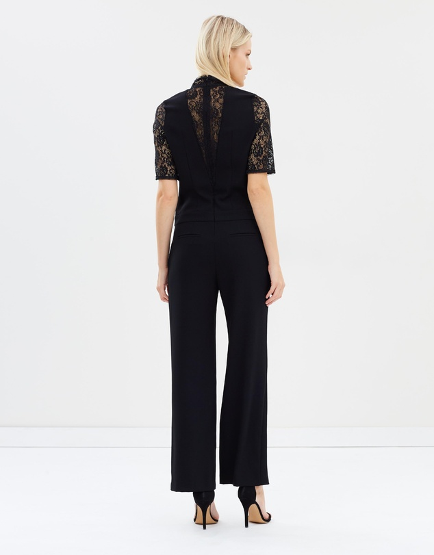 3dff13d8551 V-Neck Crepe Overalls With Lace Top by The Kooples Online