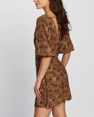 Faithfull The Brand Fontane Mini Dress - Printed Dresses (Charlie Leopard Print)