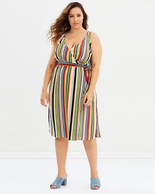 Atmos & Here Curvy – Jackson Midi Wrap Dress Colourful Stripe