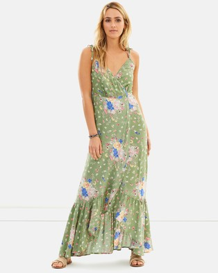 Auguste The Label – Eve Market Wrap Maxi Dress – Printed Dresses Olive
