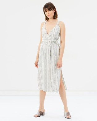 Third Form – The Intrepid Linen Wrap Dress Natural Stripe
