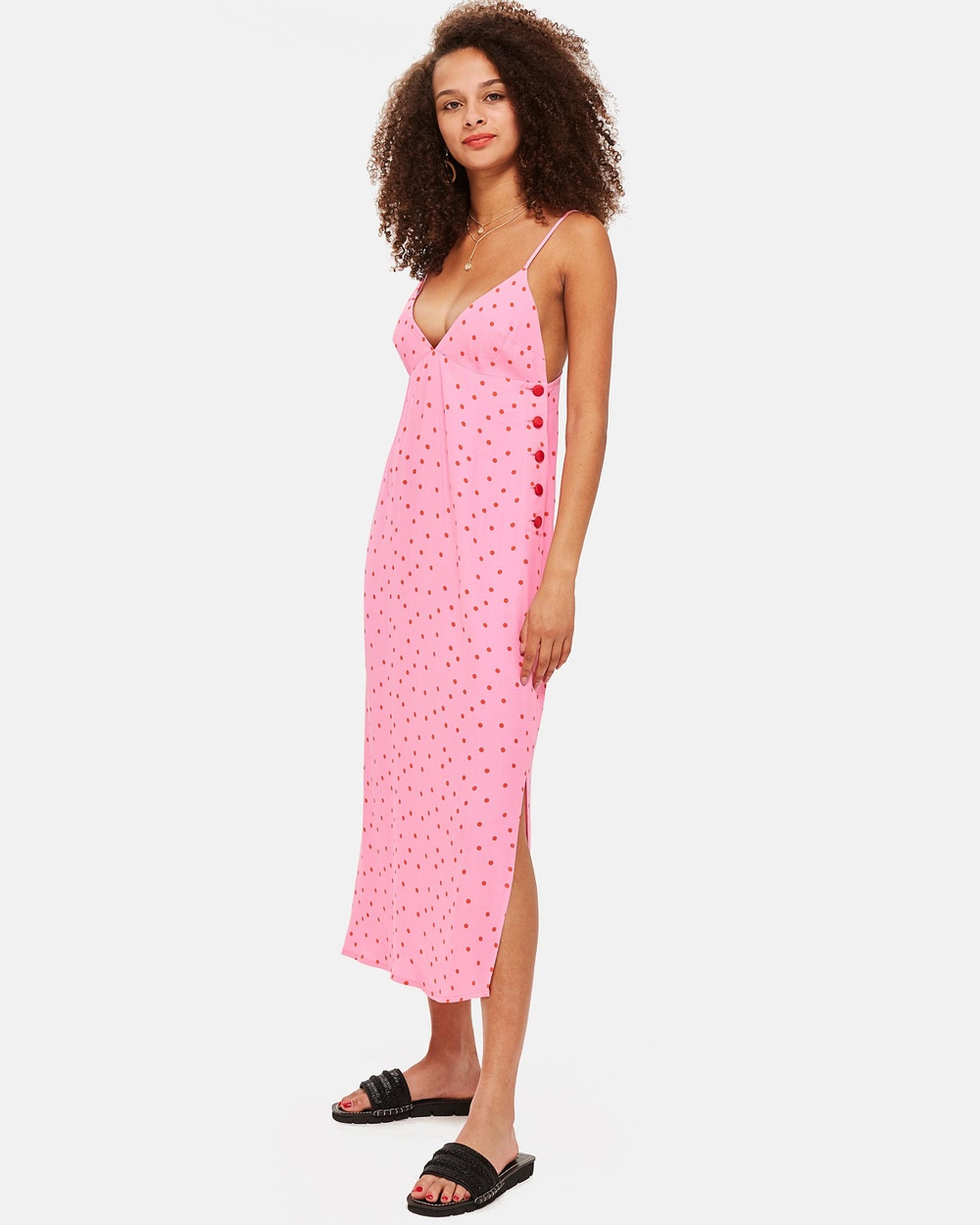 TOPSHOP Spot Slip Dress Printed Dresses Pink Spot Slip Dress