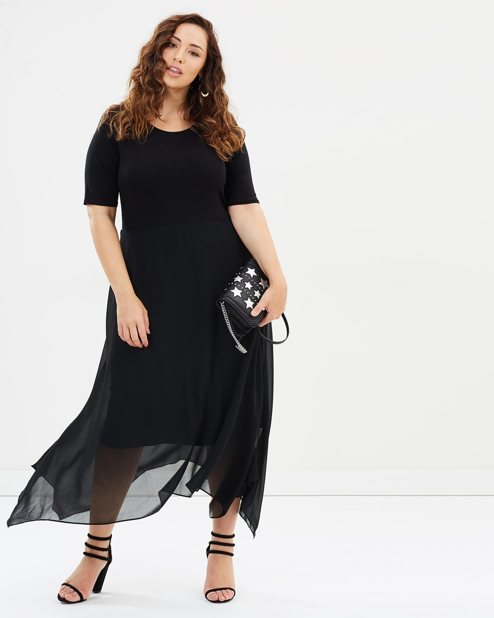 EVANS Hanky Hem Dress Dresses Black Hanky Hem Dress