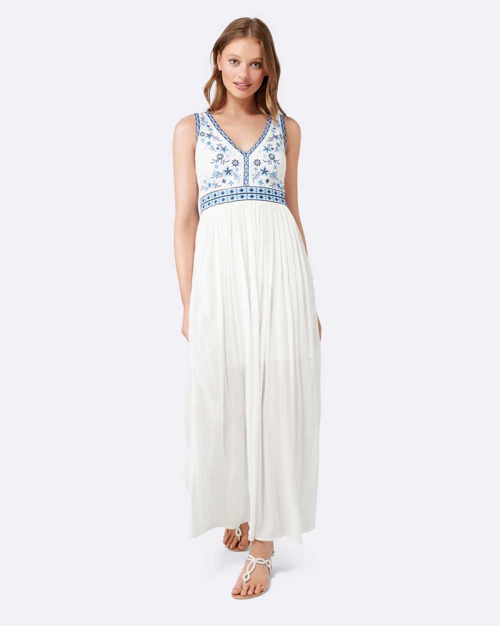 Forever New Porcelain Tessa Embroidered Bodice Maxi Dress