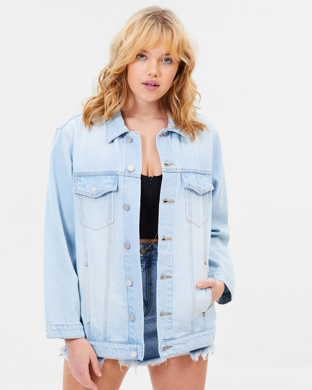 4891fbd05b12 A Drew Oversized Denim Jacket by Abrand Online | THE ICONIC | Australia