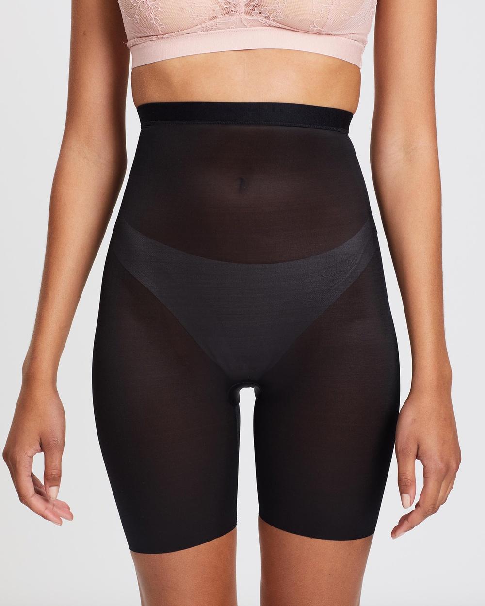 Spanx Skinny Britches High Waist Mid Thigh Shorts Lingerie Very Black High-Waist Mid-Thigh