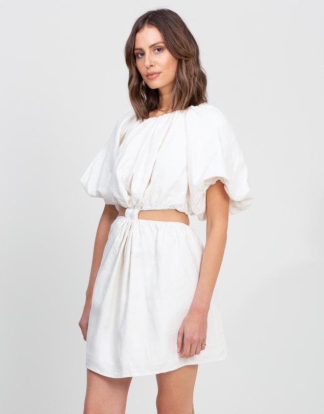 Women Cut Out Linen Mini Dress
