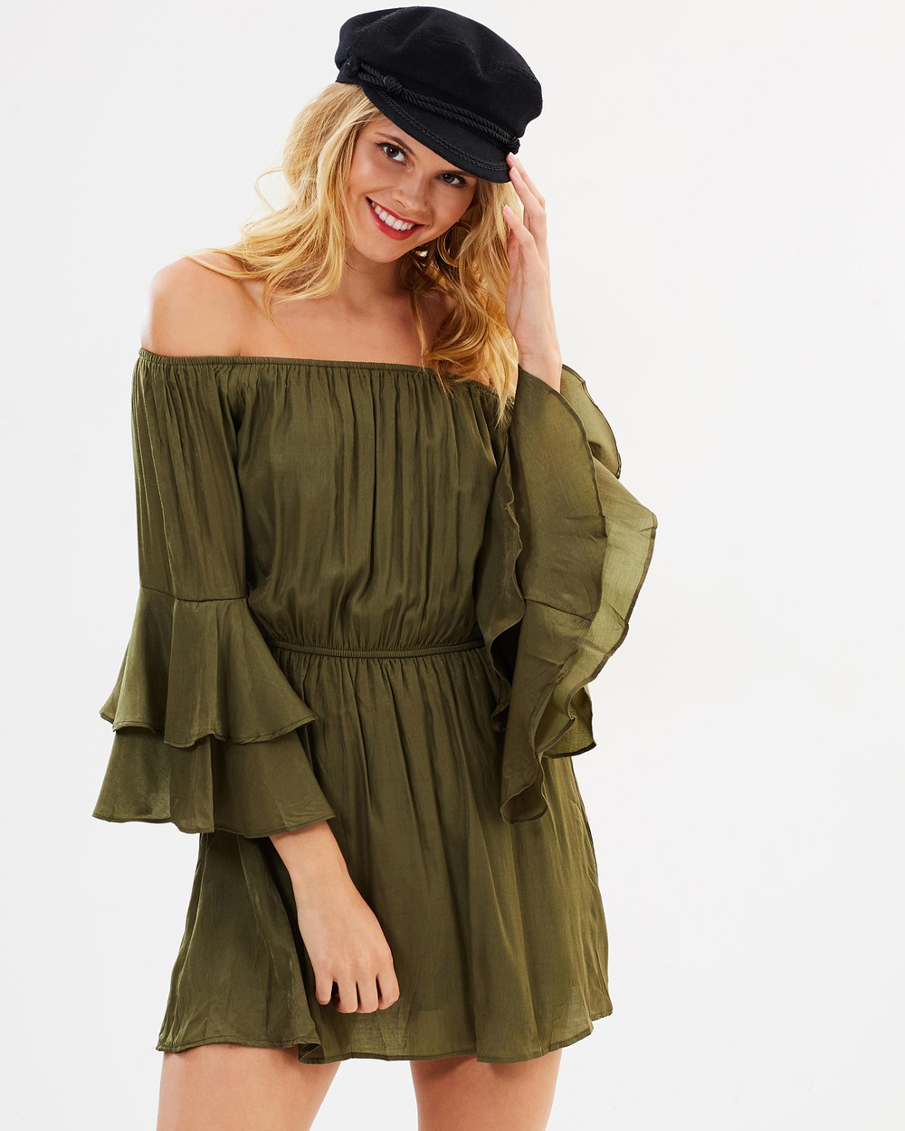 Hello Parry Steph Off Shoulder Dress Dresses Khaki Steph Off-Shoulder Dress