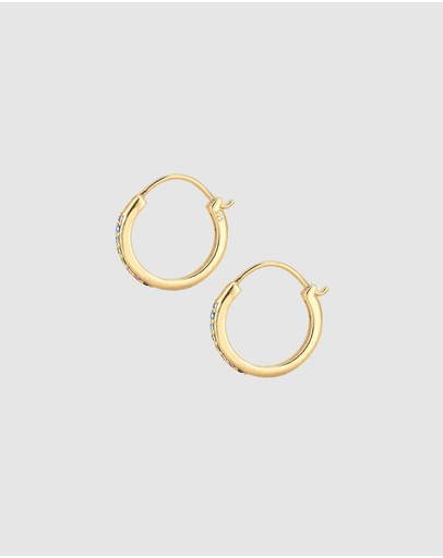 Elli Jewelry Earrings Hoops Rainbow Geo Swarovski® Crystals 925 Sterling Silver Gold Plated