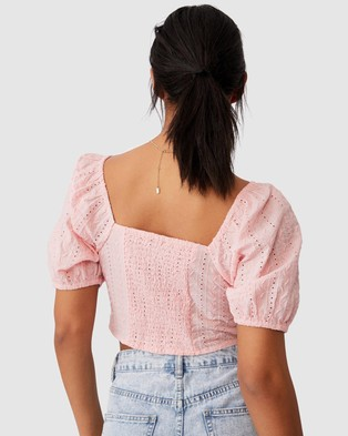 Cotton On - Pip Tie Front Blouse Cropped tops (Sugar Pink)