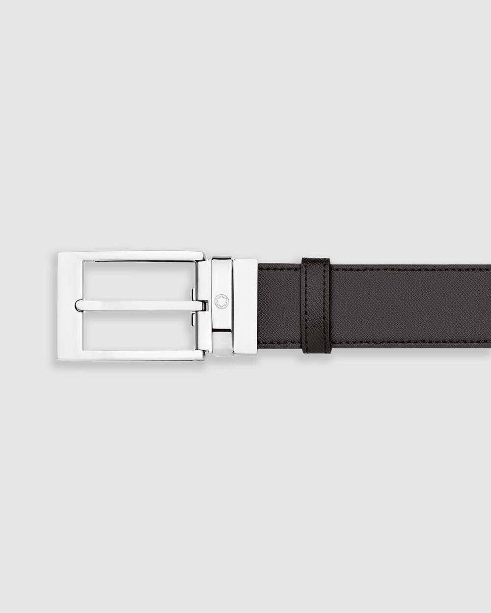 Montblanc Rectangular Shiny Brushed Palladium Coated Pin Buckle Belt Belts Black Palladium-Coated